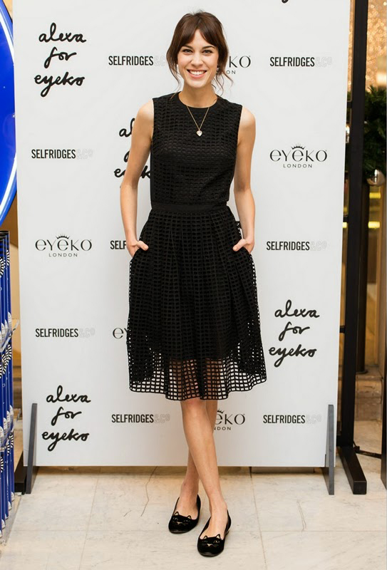 carven-dress-charlotte-olympia-kitty-embroidered-velvet-flats-photo-call-for-make-up-collection-launch-alexa-chung
