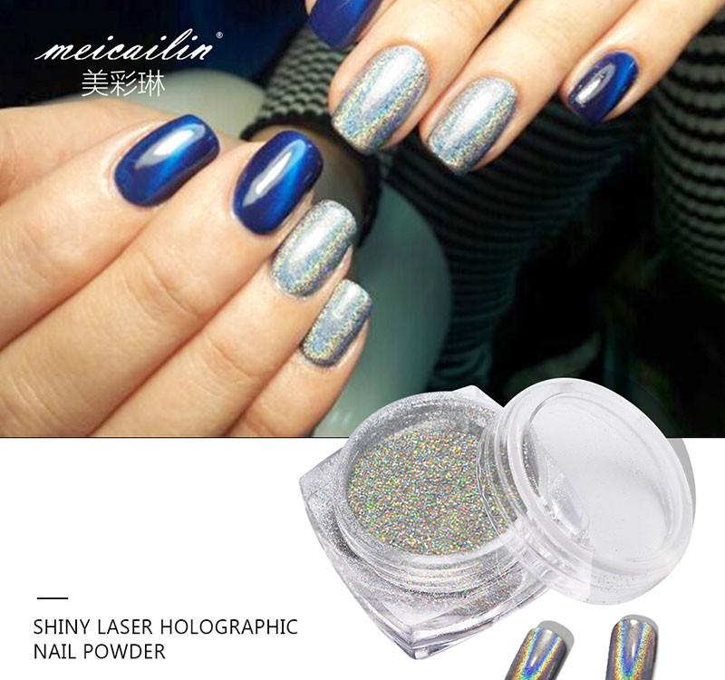 Mirror powder dust Silver rainbow Nail art decoration - Shopping Spark