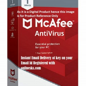 Mcafee Antivirus 1 PC 1 Year Latest Version ( Instant Email Delivery of Key ) No CD Only Key