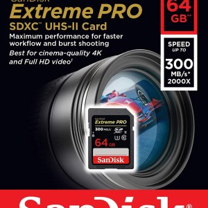 SanDisk 64GB Extreme Pro Class 10 UHS-II SDXC Memory Card 300 MB/s