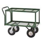Sandusky-TW3820-Green-Heavy-Duty-Steel-2-Deck-Flat-Wagon-550-lb-Capacity-33-Height-x-38-Length-x-20-Width-0
