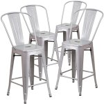 Flash-Furniture-Metal-IndoorOutdoor-Stool-4-Pack-24-Silver-0