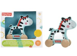 Fisher Price Wooden Zebra on Wheels Comaco Toys Direct