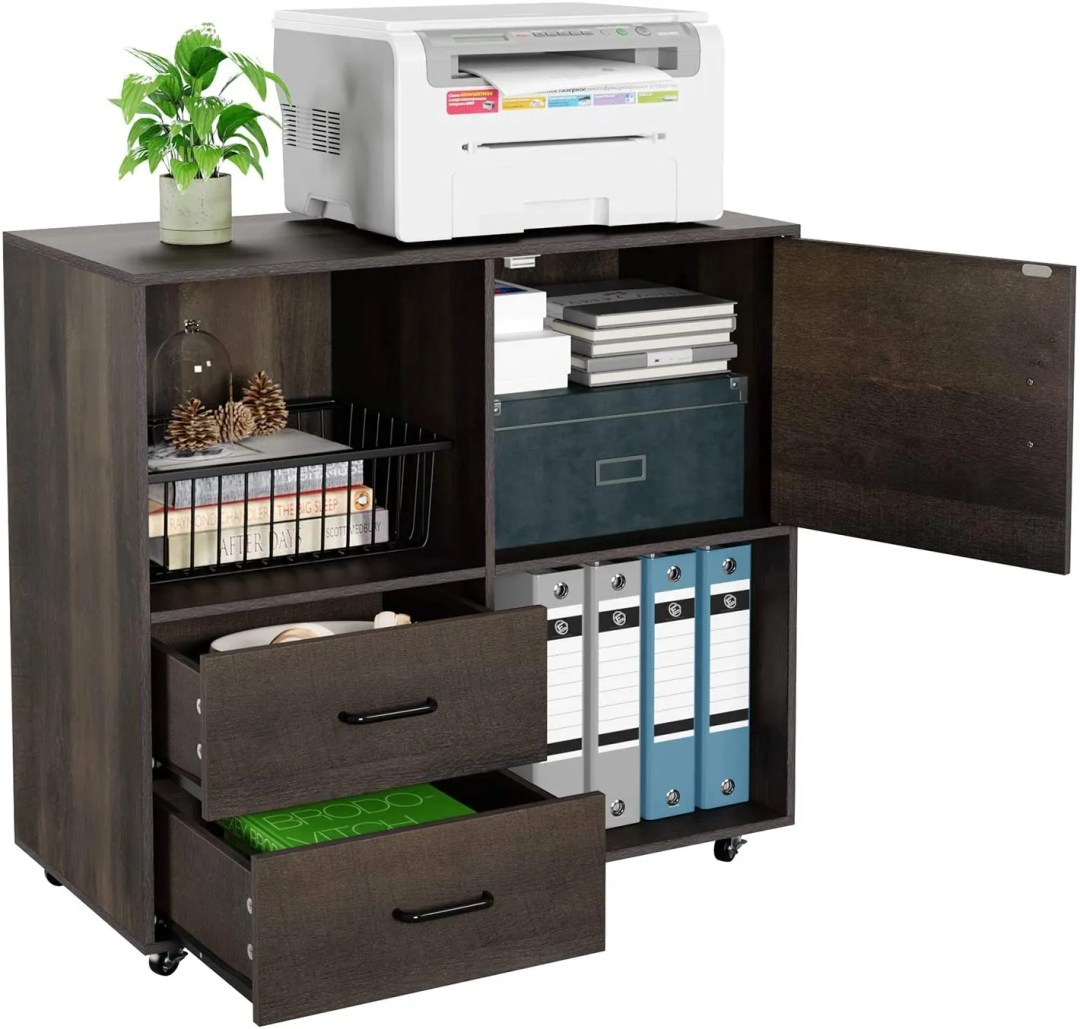 HOMECHO File Cabinet Mobile Lateral Filing Cabinet with Wheels, home office cabinet
