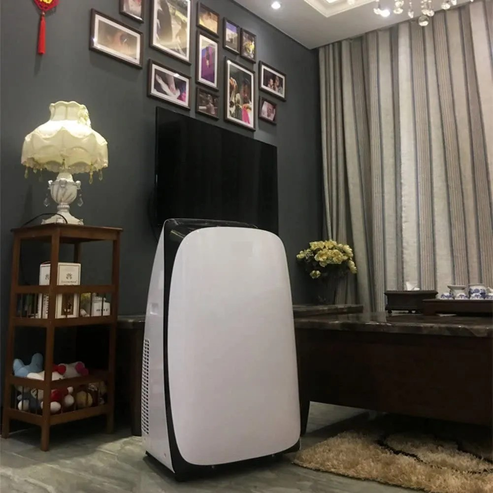 This elegant air conditioner is portable has a quiet fan and remote control and is able to cool bigger office spaces as well.