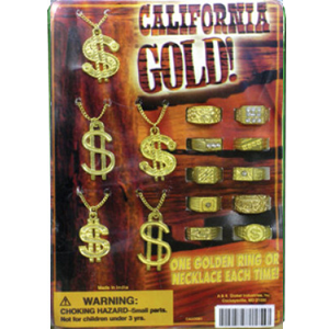 California Gold! Necklaces & Rings -1.1 Inch Toy Capsule