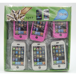 I-Phone Pencil Erasers White-Pink 36 Count
