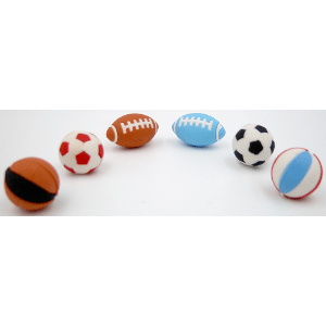 Sportball Erasers Six Types 48 Count