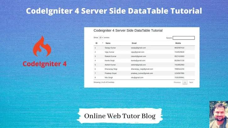 CodeIgniter 4 Server Side DataTable Tutorial