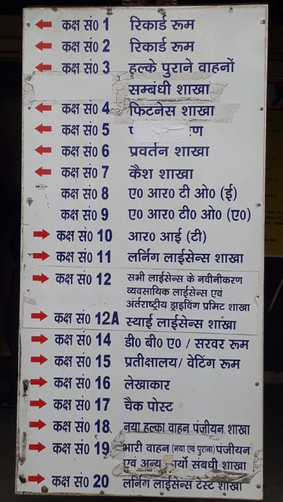 Noida RTO Room-wise work details for driving license