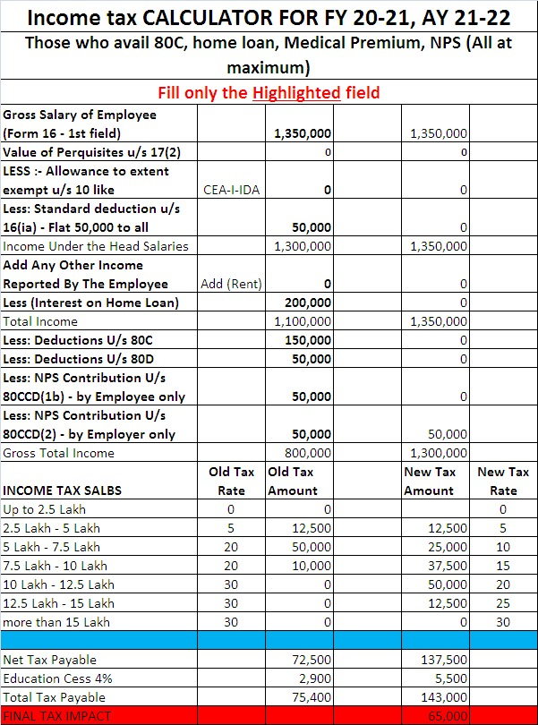 Tax difference for those, who has maximum savings
