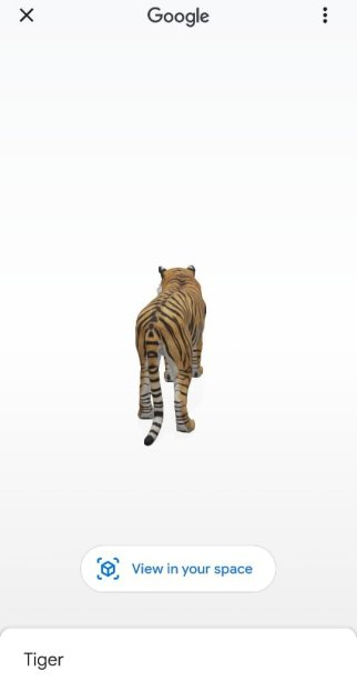 Then, click 'View in your space' for 3D animal in Home