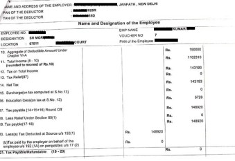 Form 16 sample for ITR filing, in which all the income, savings and tx details are mentioned.