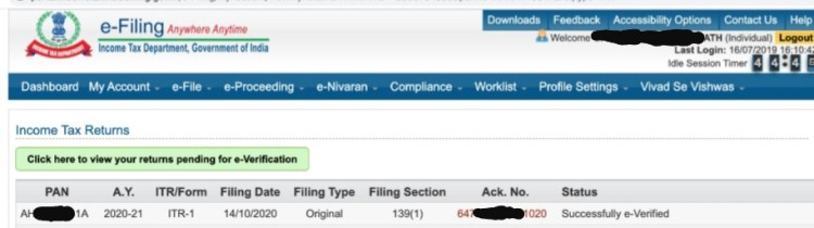 successfully e-verified status after submitting ITR in e-filing