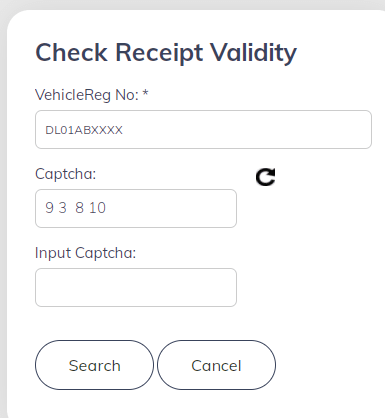 HSRP - check receipt validity
