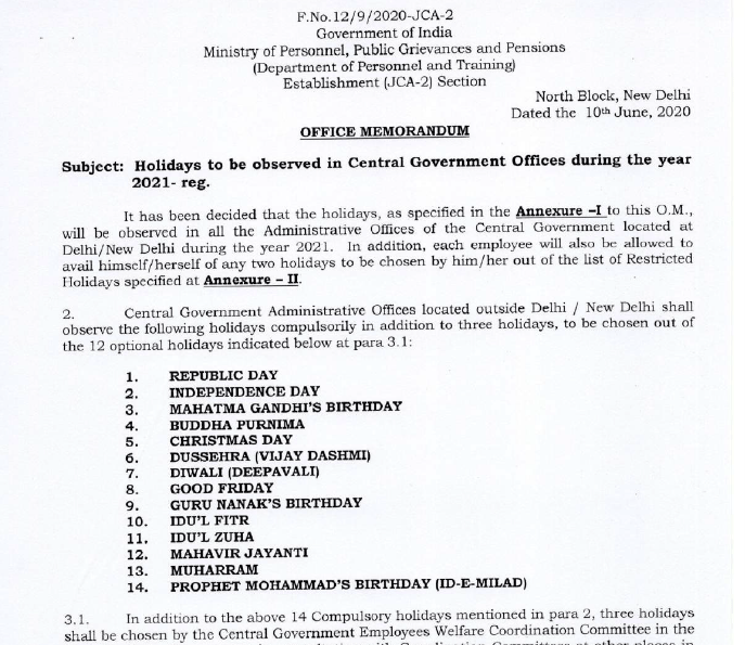 Year 2021 Public, Gazetted, Restricted, Optional Holidays list