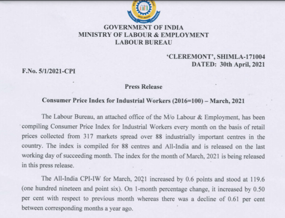 March 2021  AICPIN - IW (All-India Consumer Price Index - Industrial Workers)