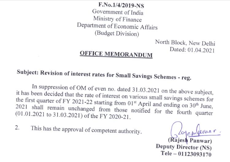 Rate of Interest on Small Saving Schemes like Sukanya Samriddhi Yojana for April to June 2021