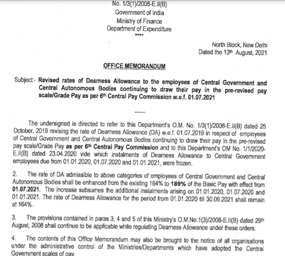 DA hike order for central govt. employees and pensioners of 6th Pay from 1st July 2021