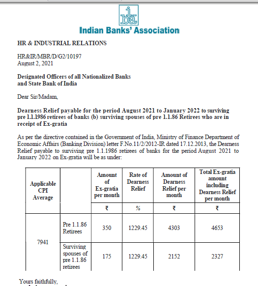 DR order by IBA for Bank pensioners (pre-01.01.86 Retirees) from Aug 2021 to Jan 2022