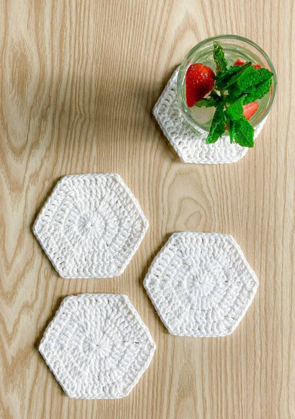Cotton Hexagon Crochet Coasters