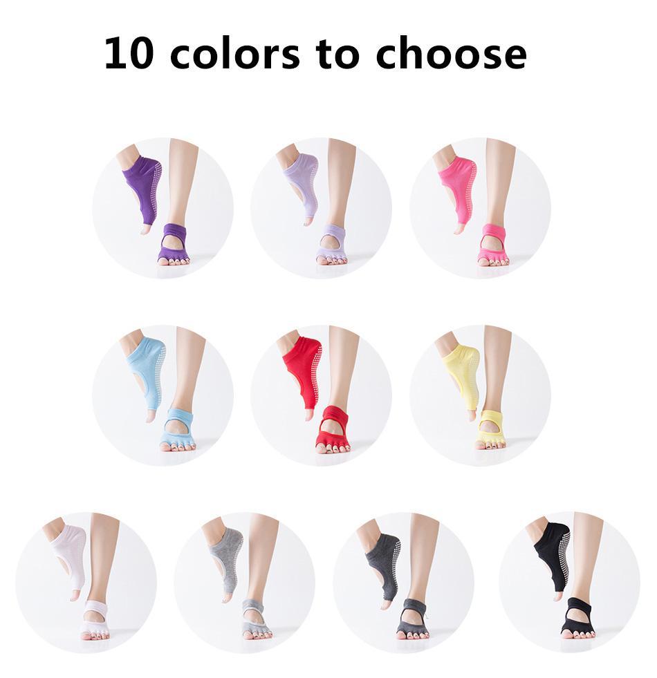 Yoga Socks Anti Slip Grip in 10 Colours
