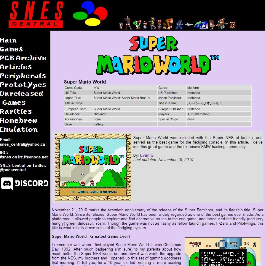 Super Mario World: algunos juegos tienen un análisis además de la información técnica