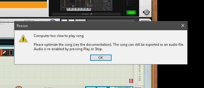 Screenshot of Reason error message, encountered when VST performance halts playback.