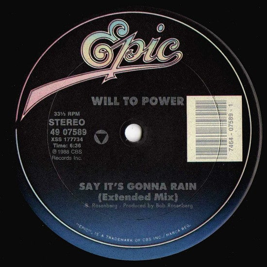 Will To Power – Say It's Gonna Rain
