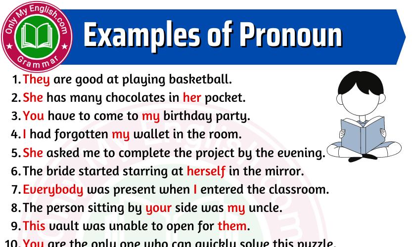 Examples of Pronoun in Sentences