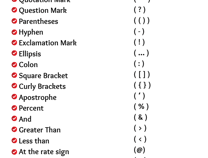 Symbol Name: List of Symbol Name in English