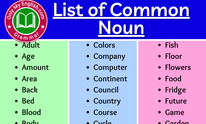 Common Noun List of words in English