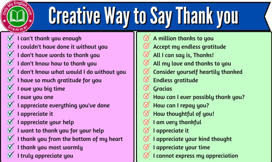 100+ Creative Way to Say Thankyou   Thankyou Synonyms English