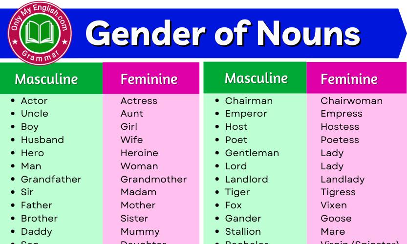 50+ Gender of Nouns List