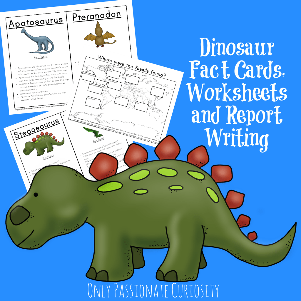 Dinosaur Unit Study Fact Cards And Dino Reports Only