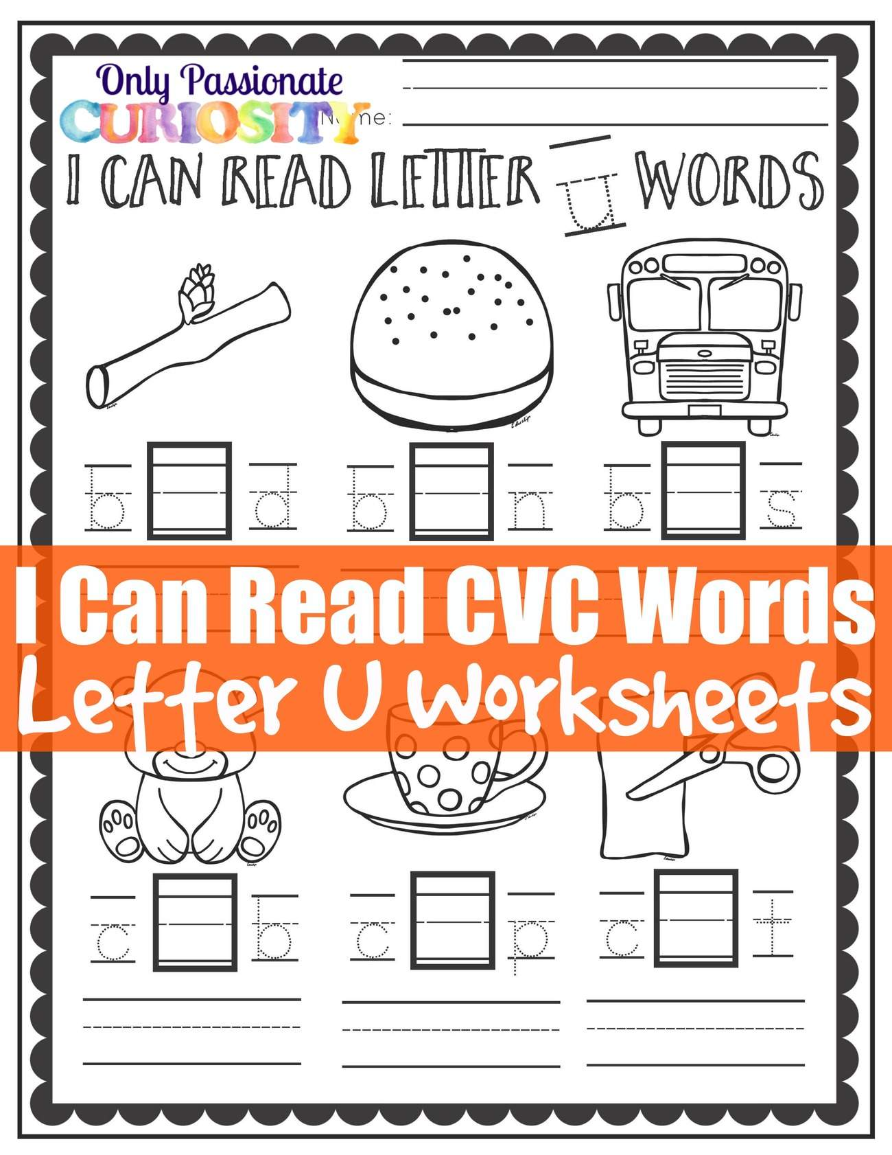 I Can Read Cvc Words Middle U Worksheets