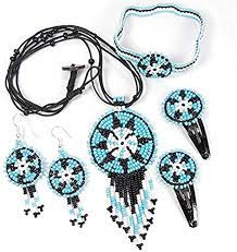 Buy Indian Fashion Jewelry Beaded Black Blue Seed Beads Necklace Earrings,  Bracelet, Hair Clip Kids Handmade Jewelry Set S-51-KS-10 at Amazon.in