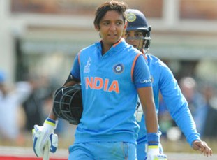 India's Harmanpreet Kaur, left, after scoring 171runs not out during the ICC Women's World Cup 2017 semifinal match between Australia and India at County Ground in Derby, England, Thursday, July 20, 2017. (AP Photo/Rui Vieira)