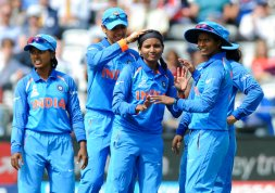 India's Rajeshwari Gayakwad, third left, is congratulated by teammates after dismissing England's Lauren Winfield during the ICC Women's World Cup 2017 final match between England and India at Lord's in London, England, Sunday, July 23, 2017. (AP Photo/Rui Vieira)