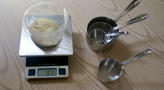 A food scale and measuring cups