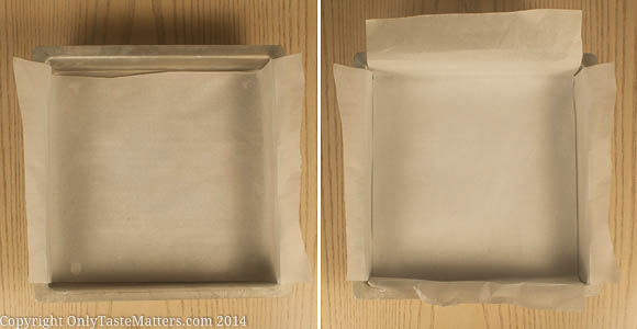Line your pan with parchment paper to easily lift out bars or brownies.