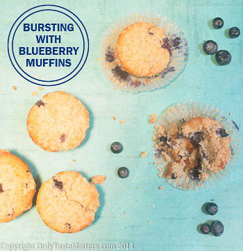 Bursting with Blueberry Muffins. Any time of day, nothing beats homemade #blueberry #muffins! #GlutenFree #recipe #SummerBerries