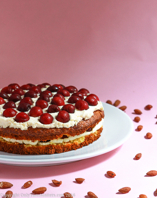 I cannot tell a lie, Cherry Almond Flourless Cake is gluten free and delicious! OnlyTasteMatters.com