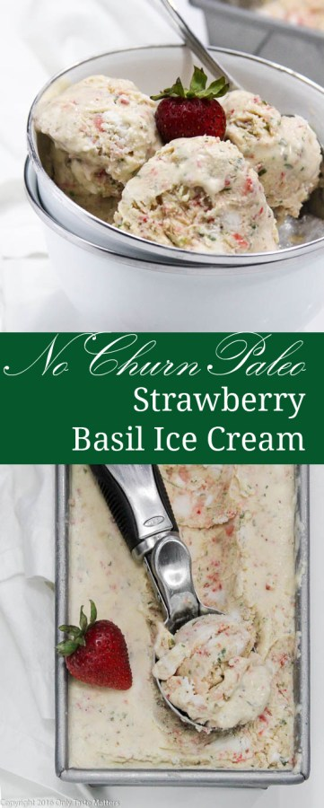 no churn paleo strawberry basil ice cream