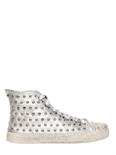 Gienchi Lame' Soft Leather Spiked Sneakers [436] 4