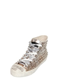 Gienchi Lame' Soft Leather Spiked Sneakers [436] 8
