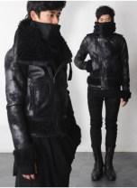 Turtleneck Shearling Suede Leather Flight Jacket [165]