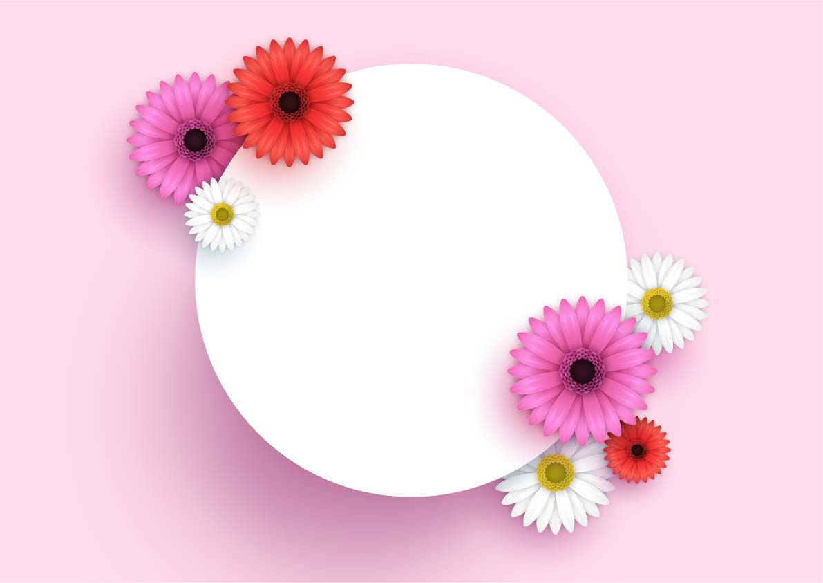 3d Flowers Background Pink Vector Free Download