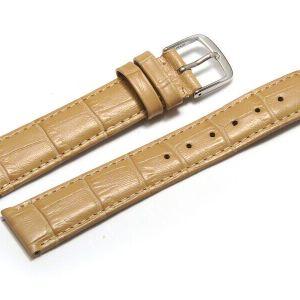 Uhrenarmband aus echtem Leder in Sand mit Kroko Prägung