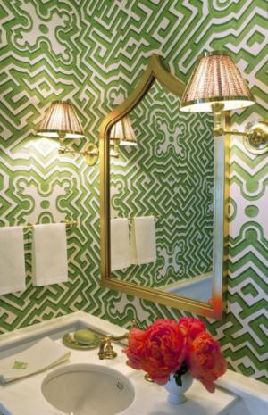 powder room wallpaper green